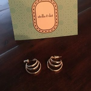 Stella and Dot Silver Triad Post Earrings